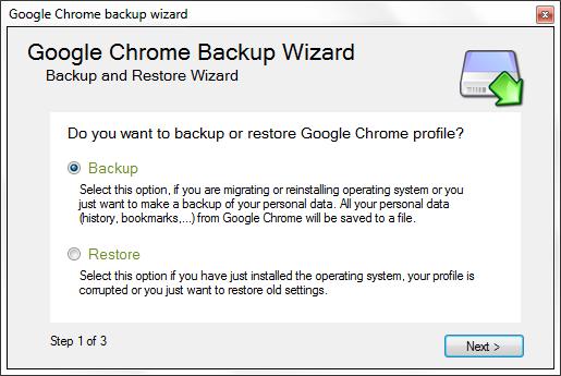 Google Chrome Backup - Backup
