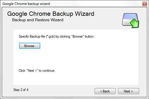 Google Chrome Backup - Browse for gbc file