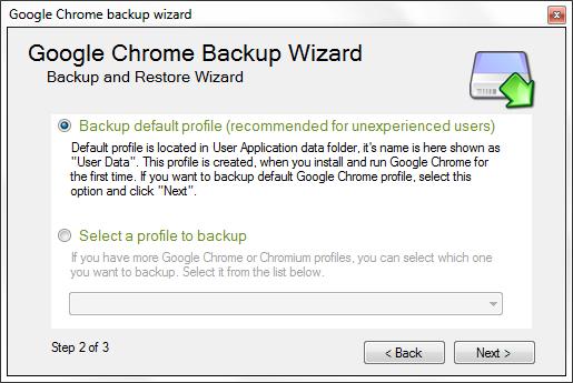 Google Chrome Backup - Profile Selection for backup