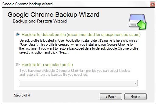 Google Chrome Backup - Profile Selection for restoring
