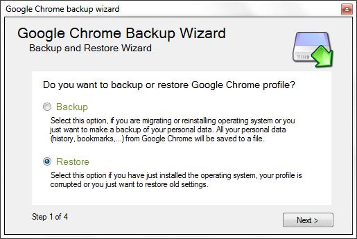 Google Chrome Backup - Restore