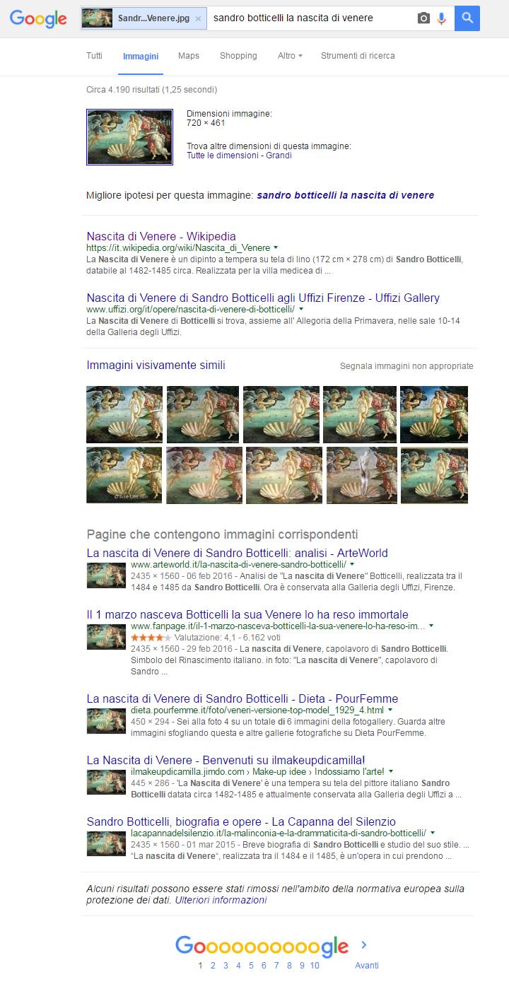 Google Immagini - Pagina dei risultati