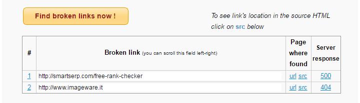Online Broken Link Checker - Results